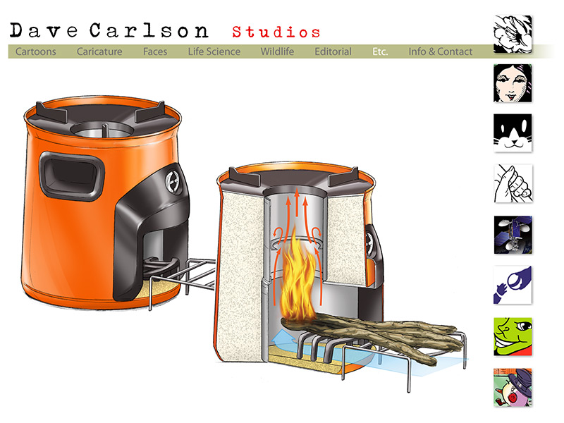 - Artwork By Dave Carlson Efficient Wood-burning Cook Stove